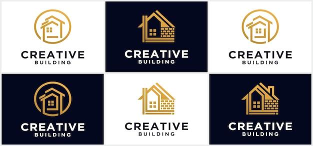Création de logo de bâtiment et de maison d'art de ligne de bâtiment minimaliste créatif, illustration de logo d'appartement de symbole d'icône moderne, maison moderne