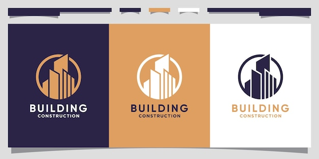 Création de logo de bâtiment pour la construction d'entreprise avec le concept de cercle vecteur premium