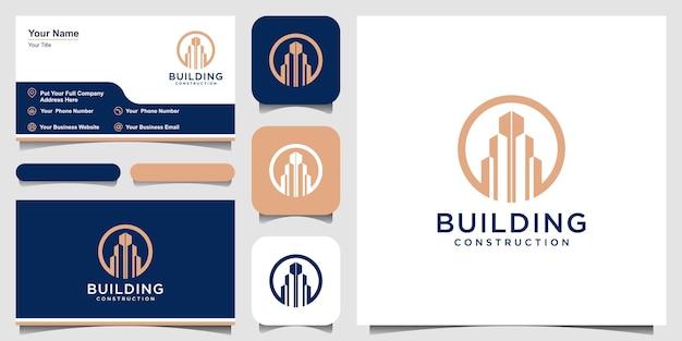 Création de logo de bâtiment avec résumé de construction de ville de concept de ligne pour l'inspiration de conception de logo