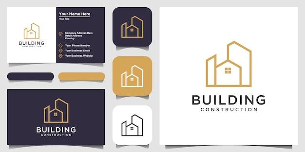 Création de logo de bâtiment avec résumé de construction de ville de style art en ligne pour l'inspiration de conception de logo