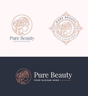 Création de logo de beauté femme avec badge cercle