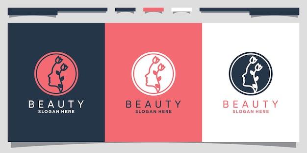 Création de logo de beauté pour femme avec espace négatif et concept de cercle vecteur premium
