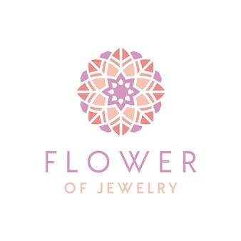 Création de logo de beaux bijoux de luxe artistique avec ornement de fleurs