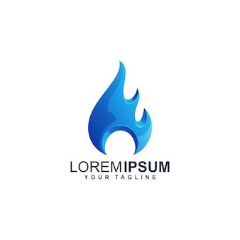Création de logo bleu eau w