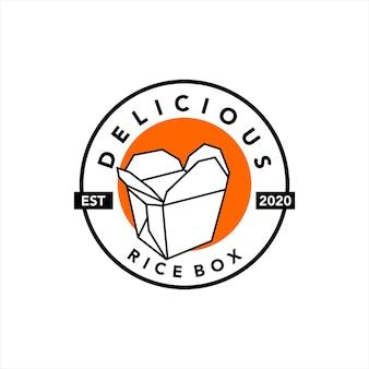 Création de logo de boîte de riz vecteur de nourriture bento