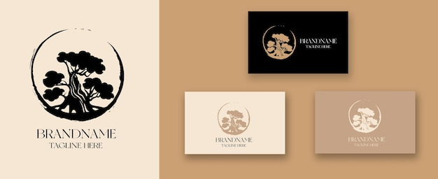 Création de logo de bonsaï d'arbre