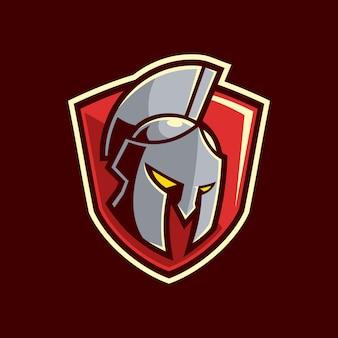 Création de logo de bouclier de casque spartiate gladiateur