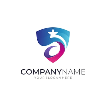 Création de logo de bouclier étoile
