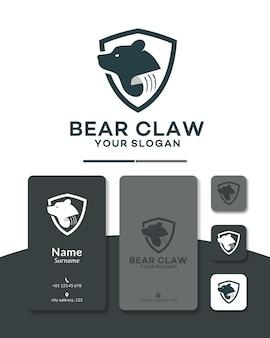 Création de logo de bouclier de griffe d'ours
