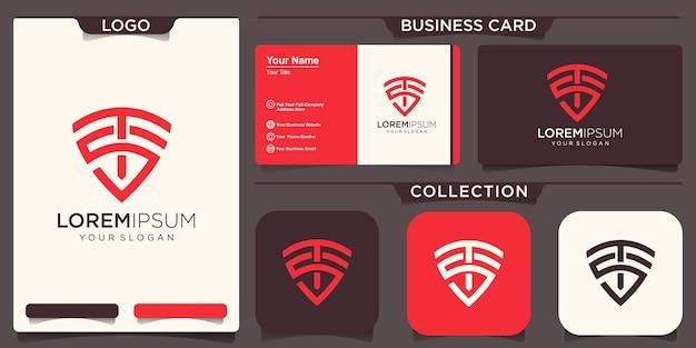 Création de logo de bouclier avec lettre st ts concept design