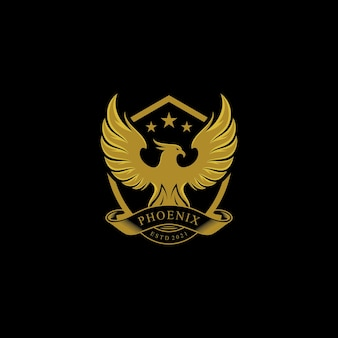 Création de logo de bouclier phoenix de luxe en or