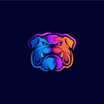 Création de logo de bouledogue coloré