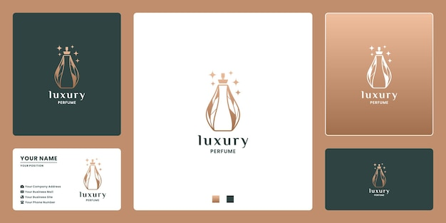 Création de logo de bouteille de parfum de luxe. couleur dorée. pour les cosmétiques d'entreprise, étiquette de marque.