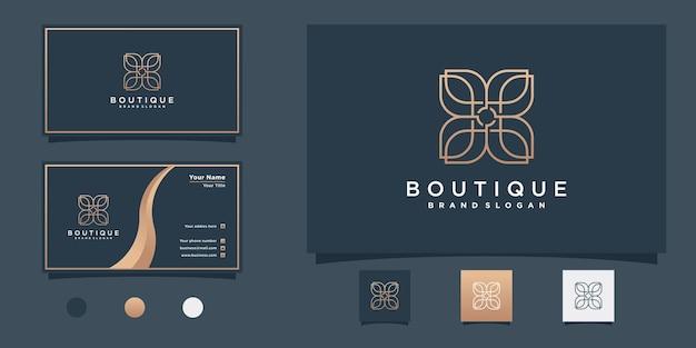 Création de logo de boutique avec un style d'art au trait moderne vecteur premium
