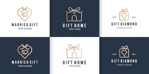 Création de logo cadeau créatif avec style de ligne