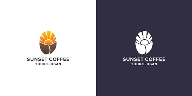 Création de logo de café au coucher du soleil