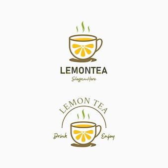 Création de logo de café de boire du thé au citron