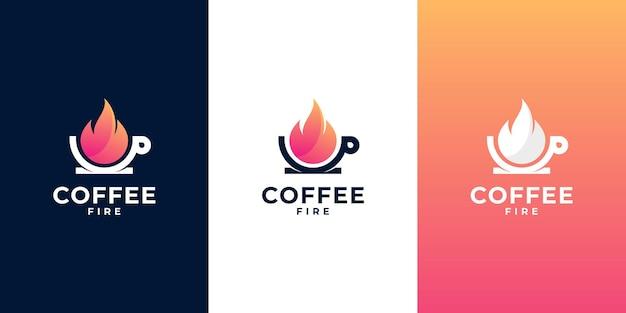 Création de logo de café et de feu combinée