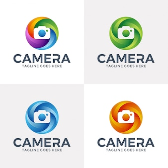 Création de logo de caméra de cercle dans le style 3d.