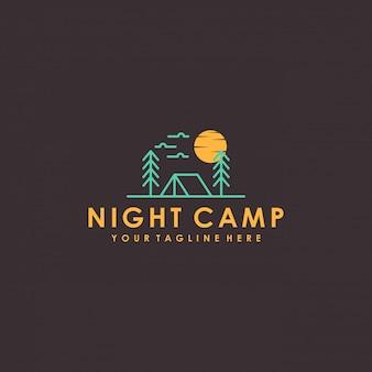 Création de logo de camp de nuit avec un style minimaliste