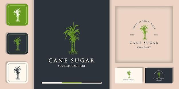 Création De Logo De Canne à Sucre Et Création De Carte De Visite Vecteur Premium