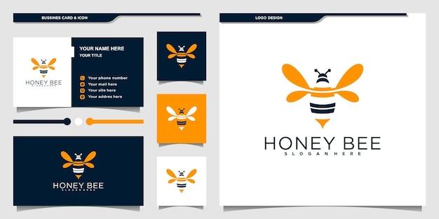 Création de logo et carte de visite d'animaux d'abeilles mellifères modernes vecteur premium