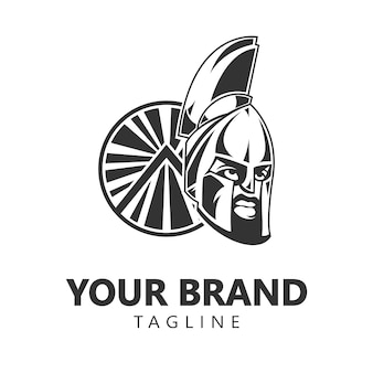 Création de logo de casque de guerrier spartiate