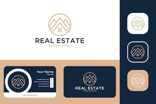 Création de logo de cercle d'art de ligne de maison immobilière et carte de visite