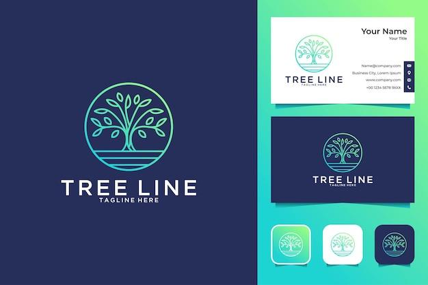 Création de logo de cercle de ligne d'arbre et carte de visite