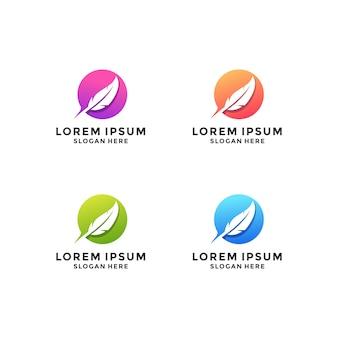 Création de logo de cercle de plumes