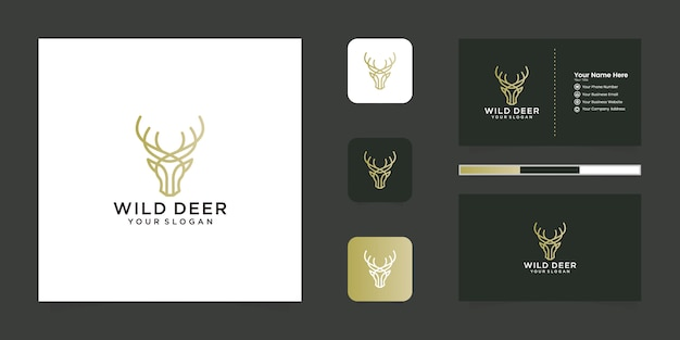 Création de logo de cerf sauvage avec logo de style art en ligne et carte de visite