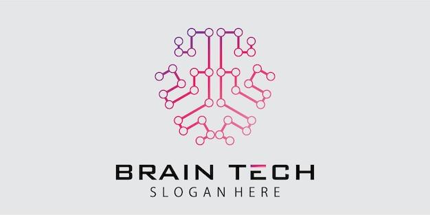 Création de logo de cerveau de technologie