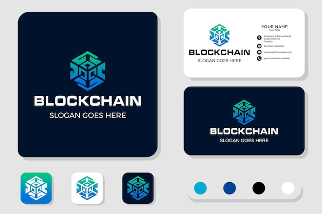 Création de logo de chaîne de blocs et carte de visite