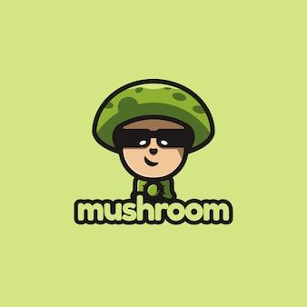 Création de logo de champignon maître avec des illustrations de style concept mignon et dessin animé pour badges, emblèmes et icônes