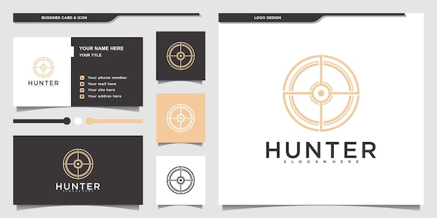 Création de logo de chasse minimaliste avec style d'art de ligne circulaire moderne et carte de visite premium vektor