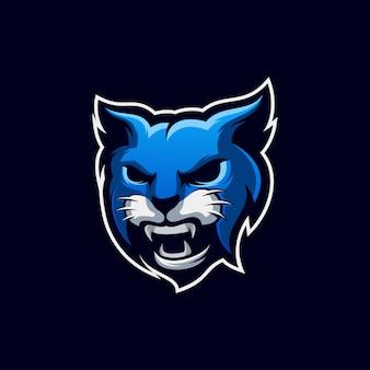 Création de logo de chat bleu