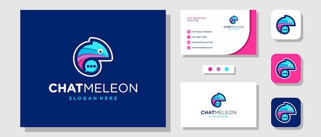 Création de logo de chat bulle caméléon mignon coloré avec carte de visite modèle de mise en page