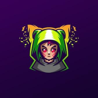 Création de logo de chat fille mignonne