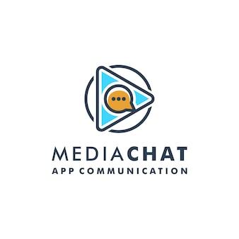 Création de logo de chat de médias jouer vecteur d'icône de message