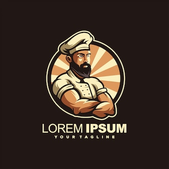 Création de logo de chef barbu génial