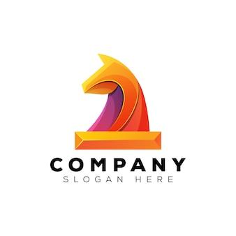 Création de logo de cheval d'échecs, création de logo de cheval de sport