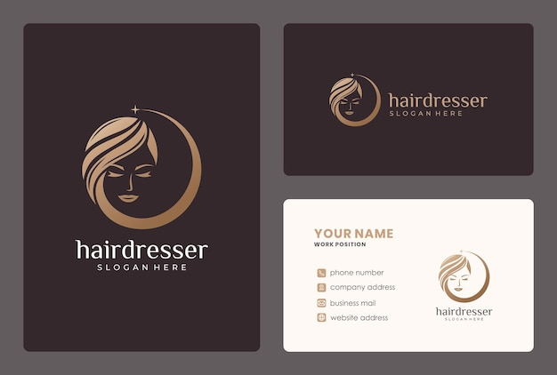 Création de logo de cheveux beauté dorée avec modèle de carte de visite.