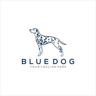 Création de logo de chien bleu