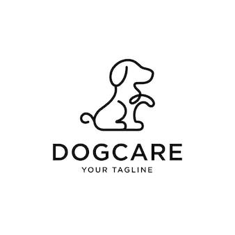 Création de logo de chien avec illustration vectorielle de ligne monoline modèle art