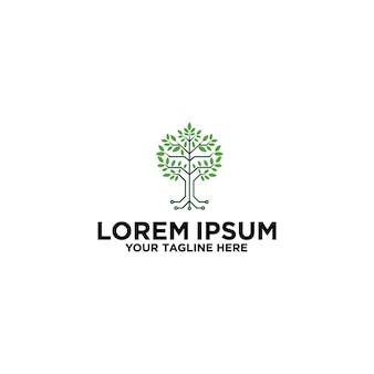 Création de logo de circuit de technologie d'arbre