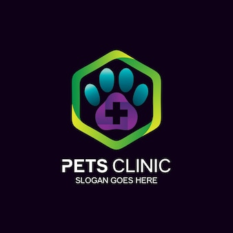 Création de logo de clinique pour animaux de compagnie en vecteur