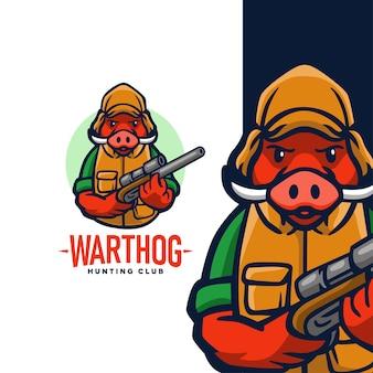 Création de logo de club de chasse au phacochère