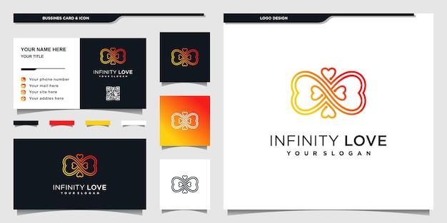 Création de logo coeur minimaliste avec symbole de l'infini de couleurs dégradées bleues et conception de cartes d'affaires vecteur premium