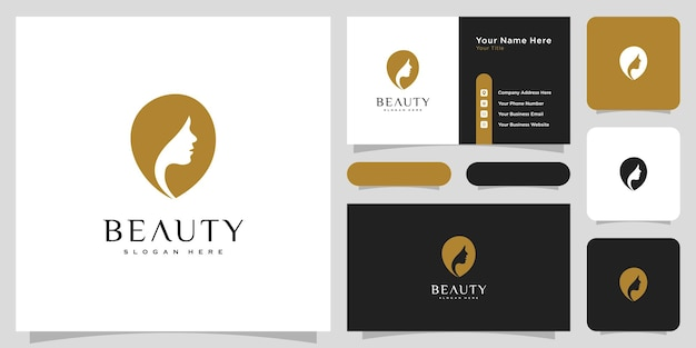 Création de logo de coiffure femme beauté avec carte de visite pour les éléments de salon de personnes nature