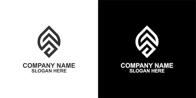 Création de logo de collection monogramme feuille geen uniq vecteur premium